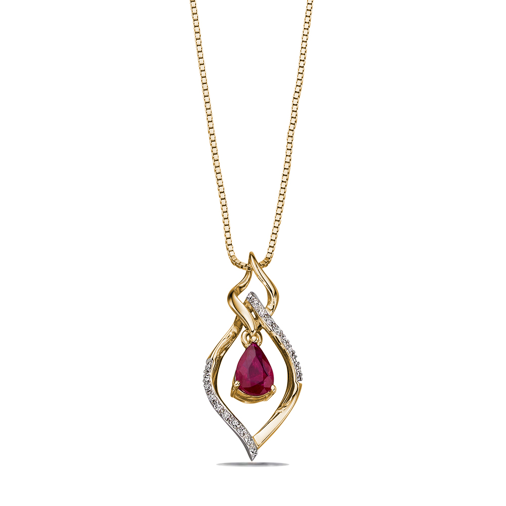 Open Marquise Ruby & Diamond Pendant (20mm X 10mm)
