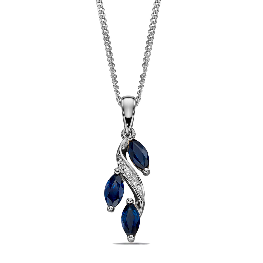 Sapphire and Diamond Marquise Drop Pendant (20mm X 5.5mm)