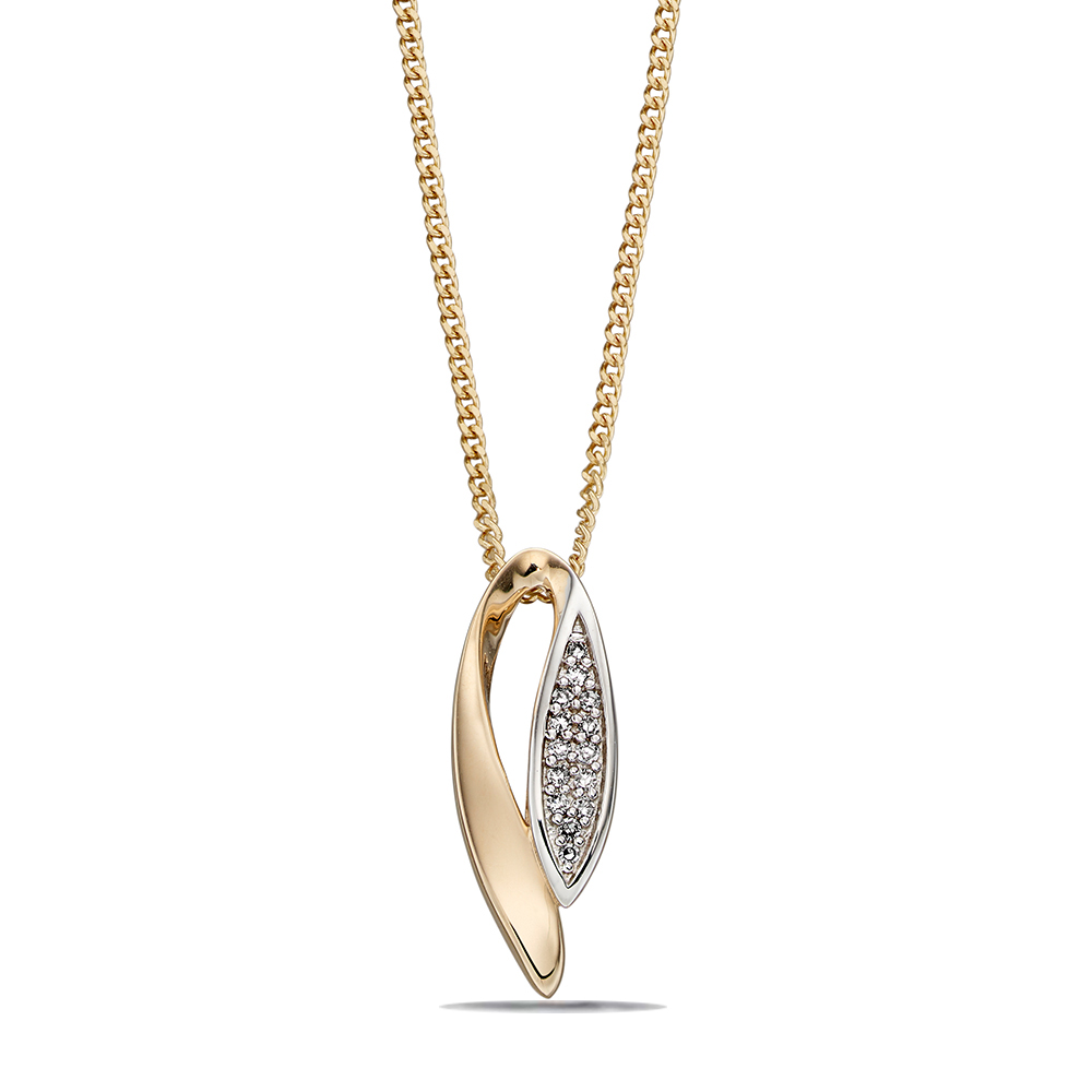 Marquise Pendant with Pave Detail Diamond Necklace (15mm X 5.5mm)