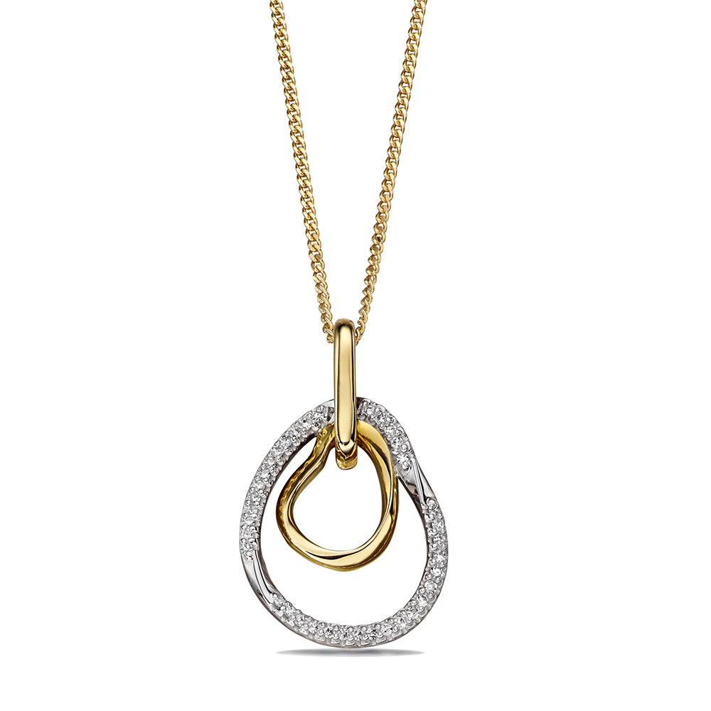 Open Organic Diamond Shape Pendant (20mm X 12mm)