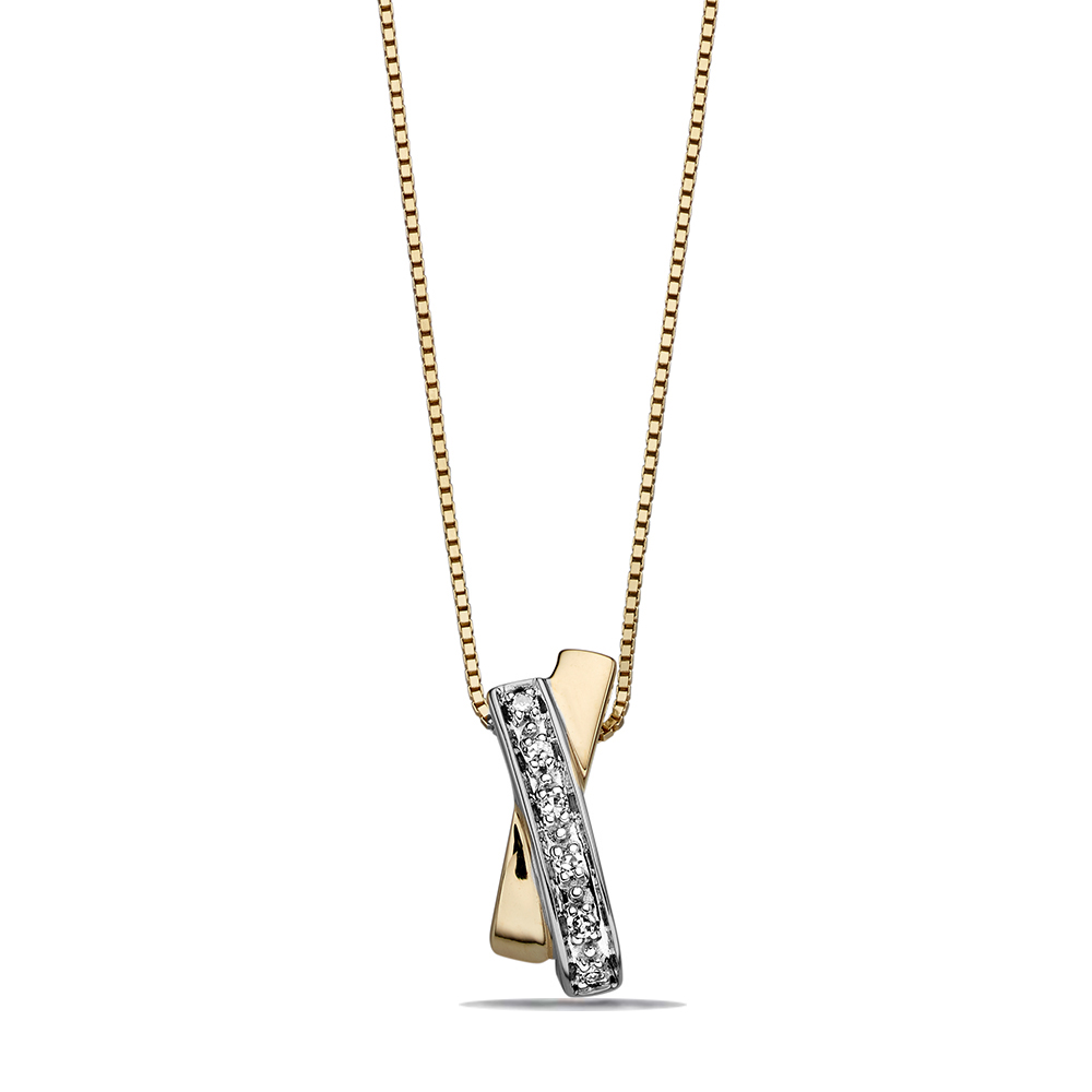 Delicate Designer X Diamond Pendant (12mm X 4mm)