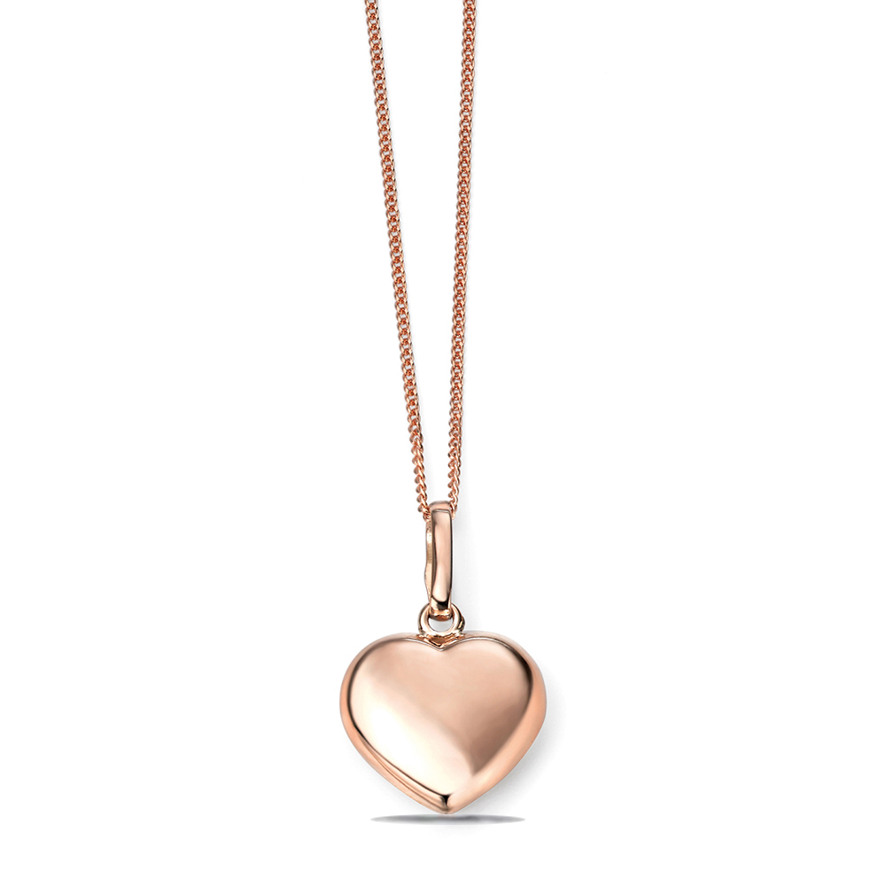 Personalize Plain Gold Heart Shape Diamond Necklace (15.5mm X 11mm)