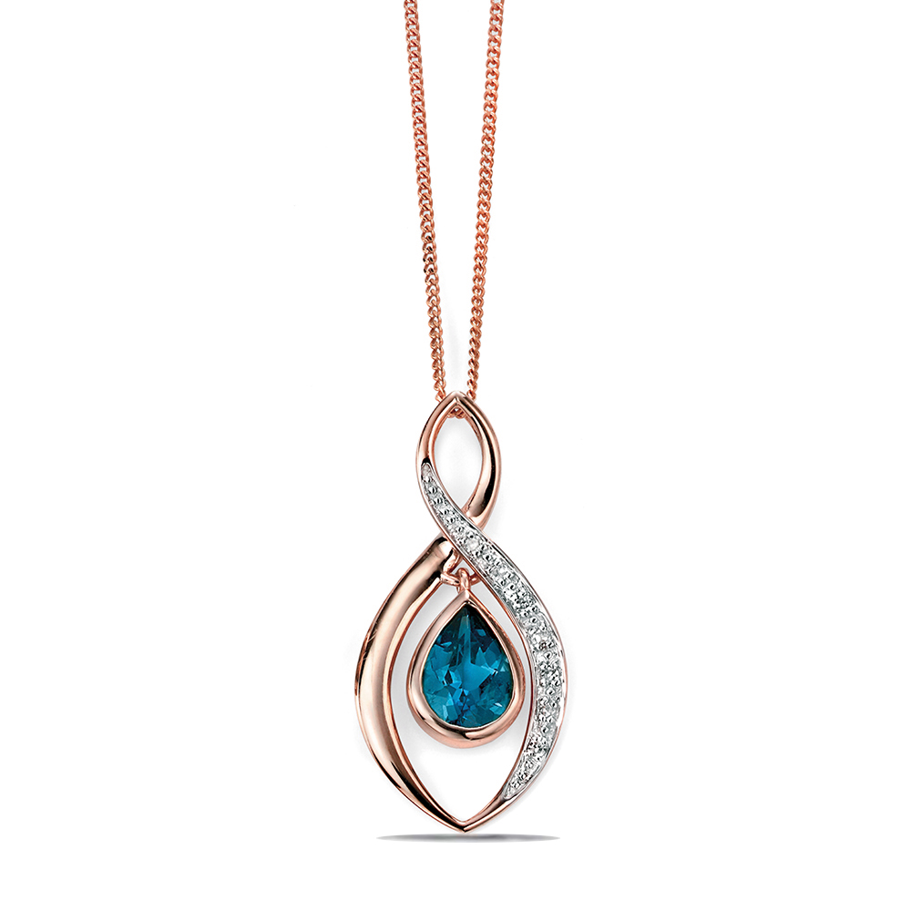 Twist Pendant with Blue Topaz Teardrop Necklace (23.5mm X 13mm)
