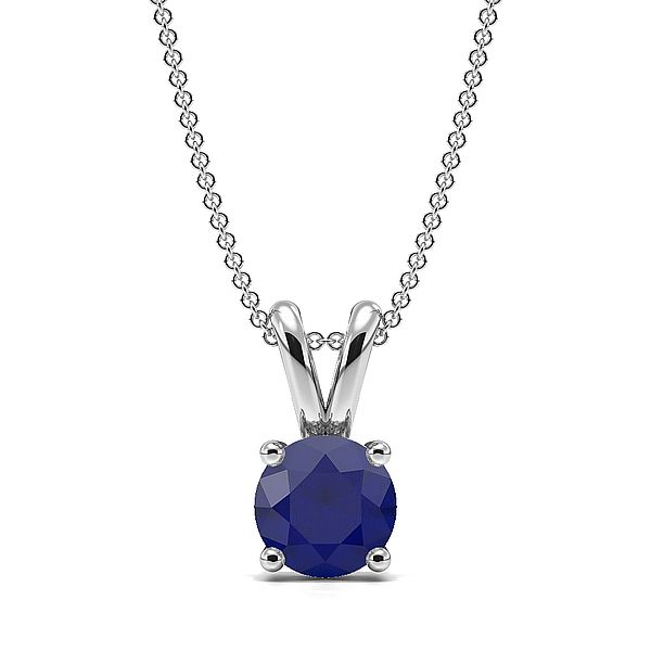 4 Claw Basket Setting Blue Sapphire Gemstone Necklace