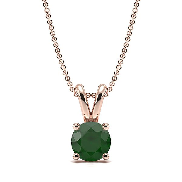 4 Claw Basket Setting Emerald Gemstone Necklace