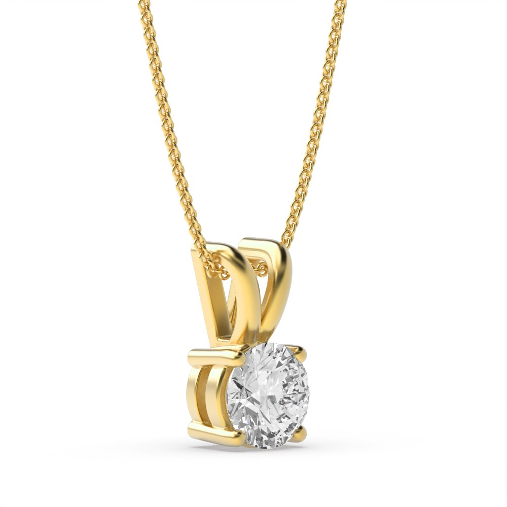 Round 4 Prong Set Solitaire Diamond Pendant Necklace