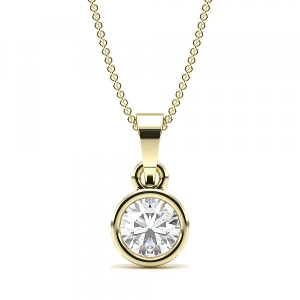 Bezel Setting Dangling Lab Grown Diamond Necklace