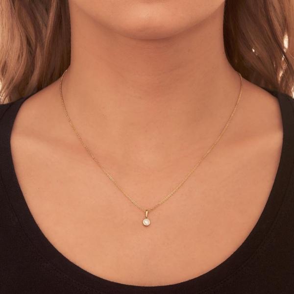 Bezel Setting Dangling Moissanite Necklace