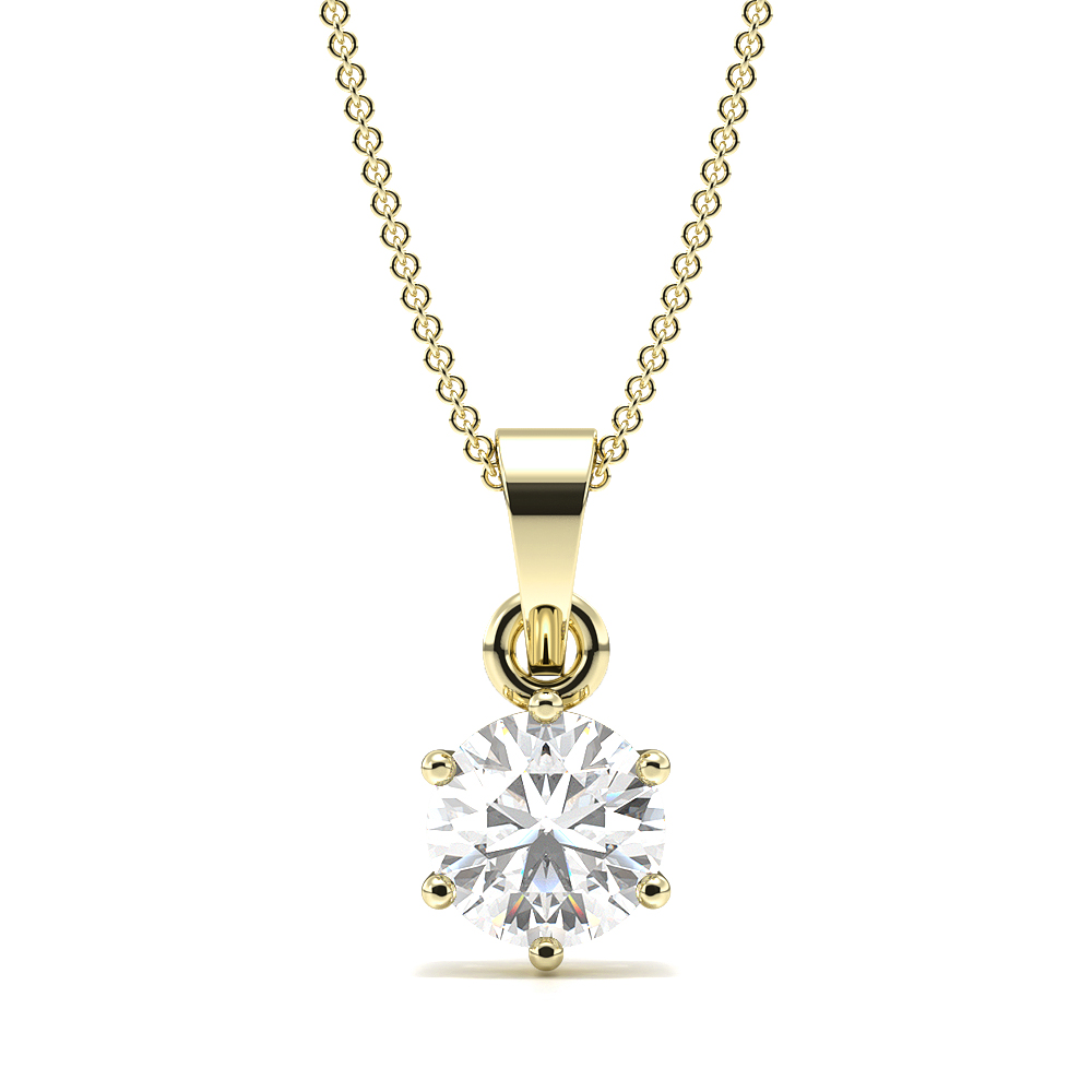 6 Prong Setting Round Solitaire Diamond Pendant