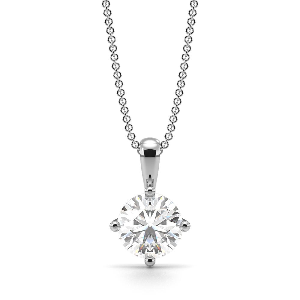 Round Solitaire Diamond Pendant White Gold / Platinum
