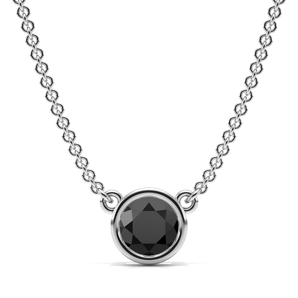 Bezel Set Round Black Diamond Necklace