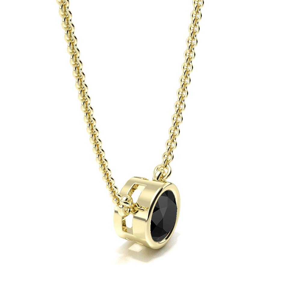 Bezel Set Round Black Diamond Necklace