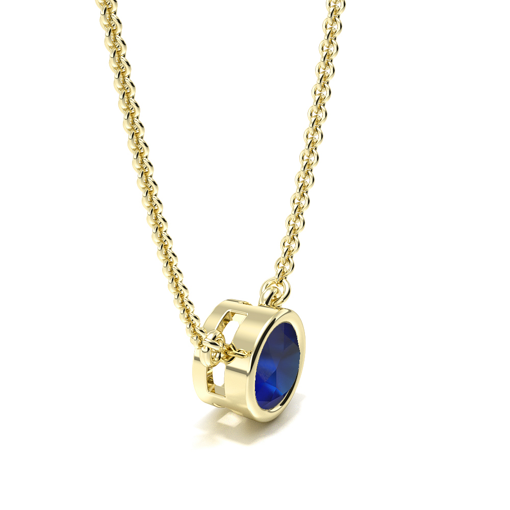 Bezel Set Round Blue Sapphire Gemstone Necklace