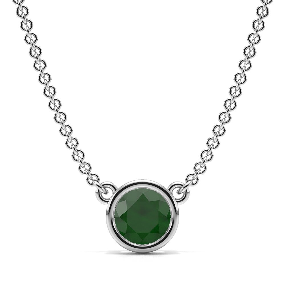 Bezel Set Round Emerald Gemstone Necklace