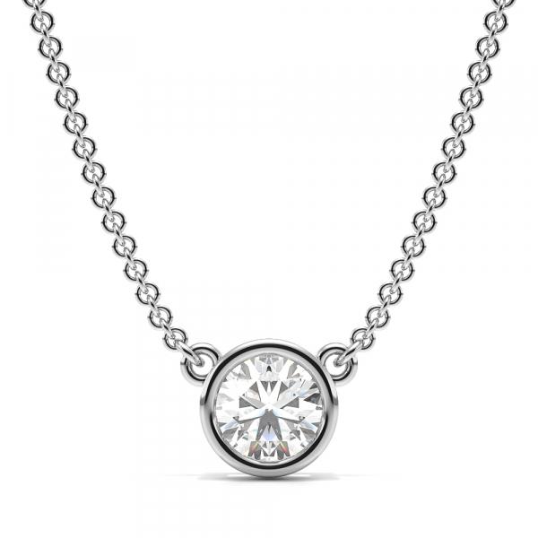 Bezel Set Round Lab Grown Diamond Necklace
