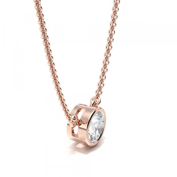 Bezel Set Round Moissanite Necklace