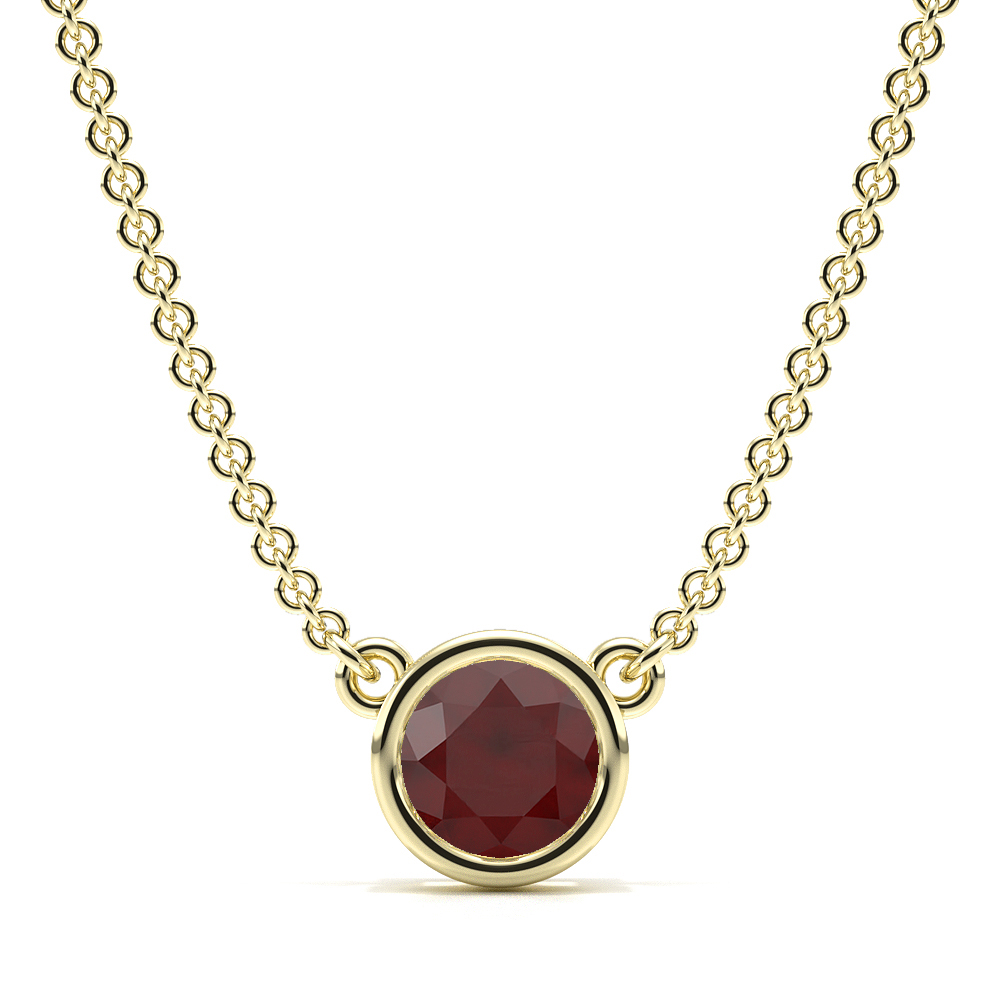 Bezel Set Round Ruby Gemstone Necklace