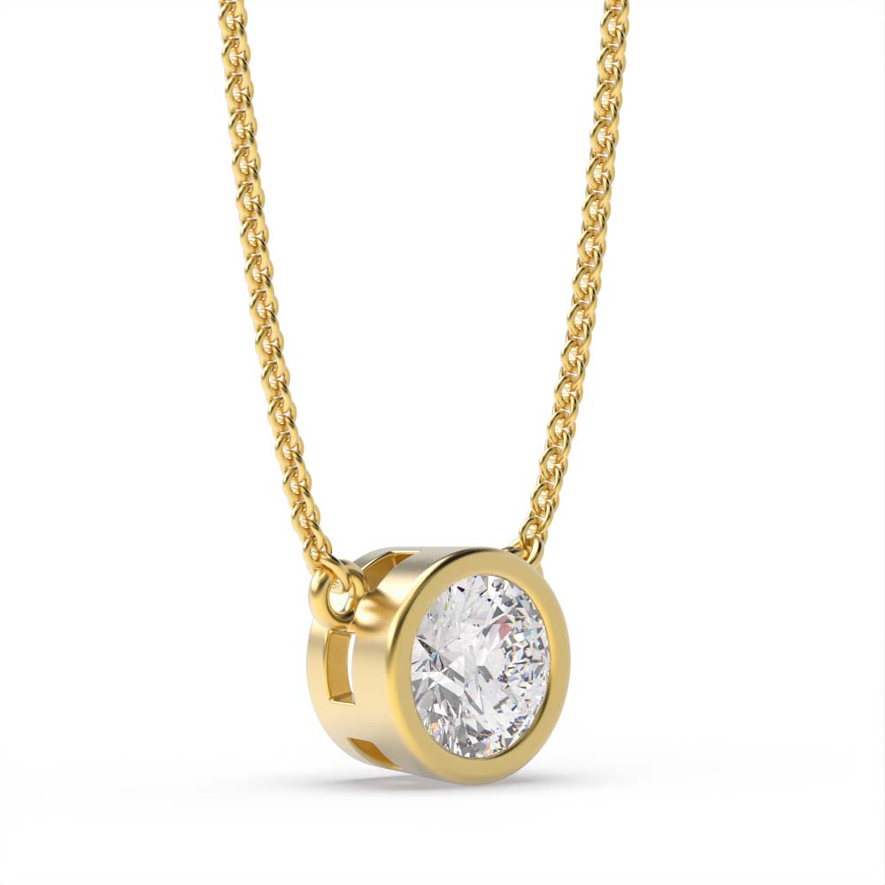 Full Bezel Set Round Solitaire Diamond Pendant in White, Yellow, Rose Gold and Platinum