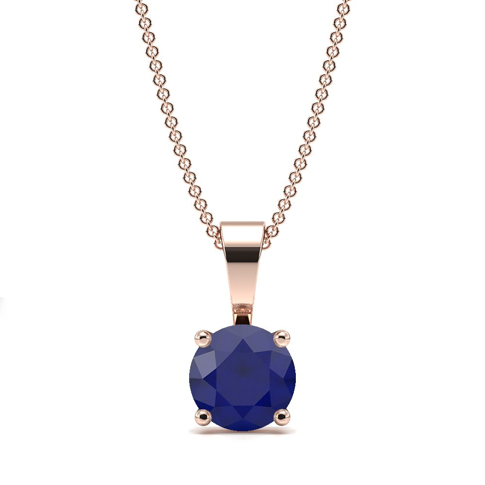 4 Claw Solid Bale Blue Sapphire Gemstone Necklace