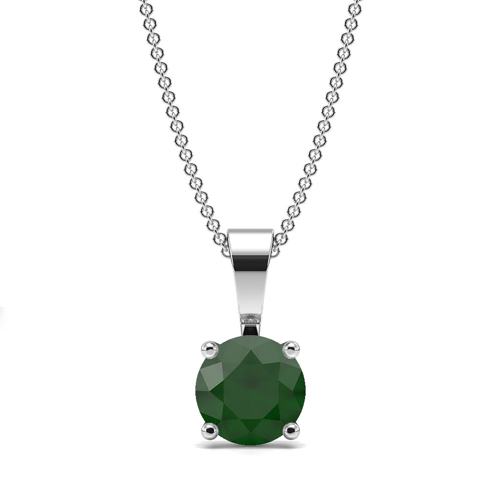 4 Claw Solid Bale Emerald Gemstone Necklace
