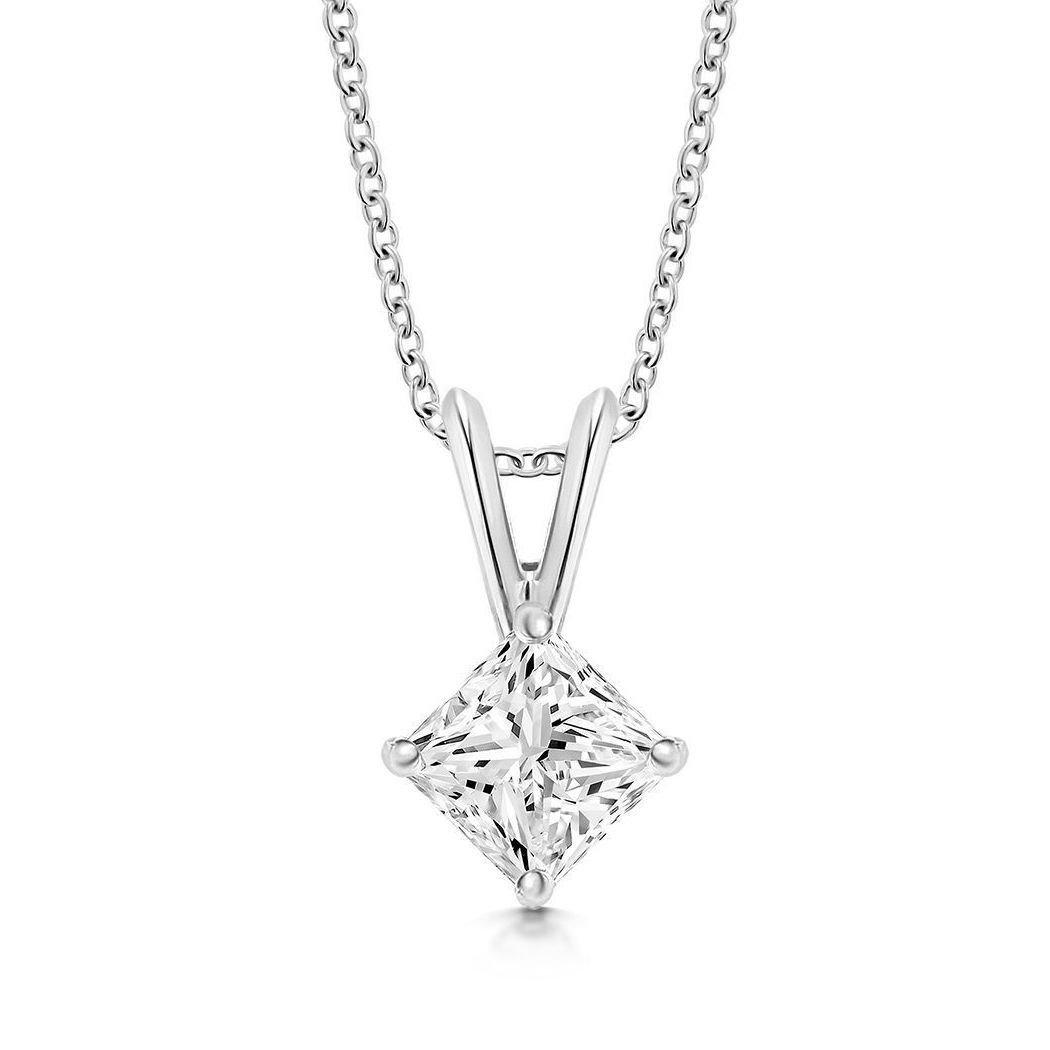 Diamond Necklace UK Princess Cut Diamond Pendant
