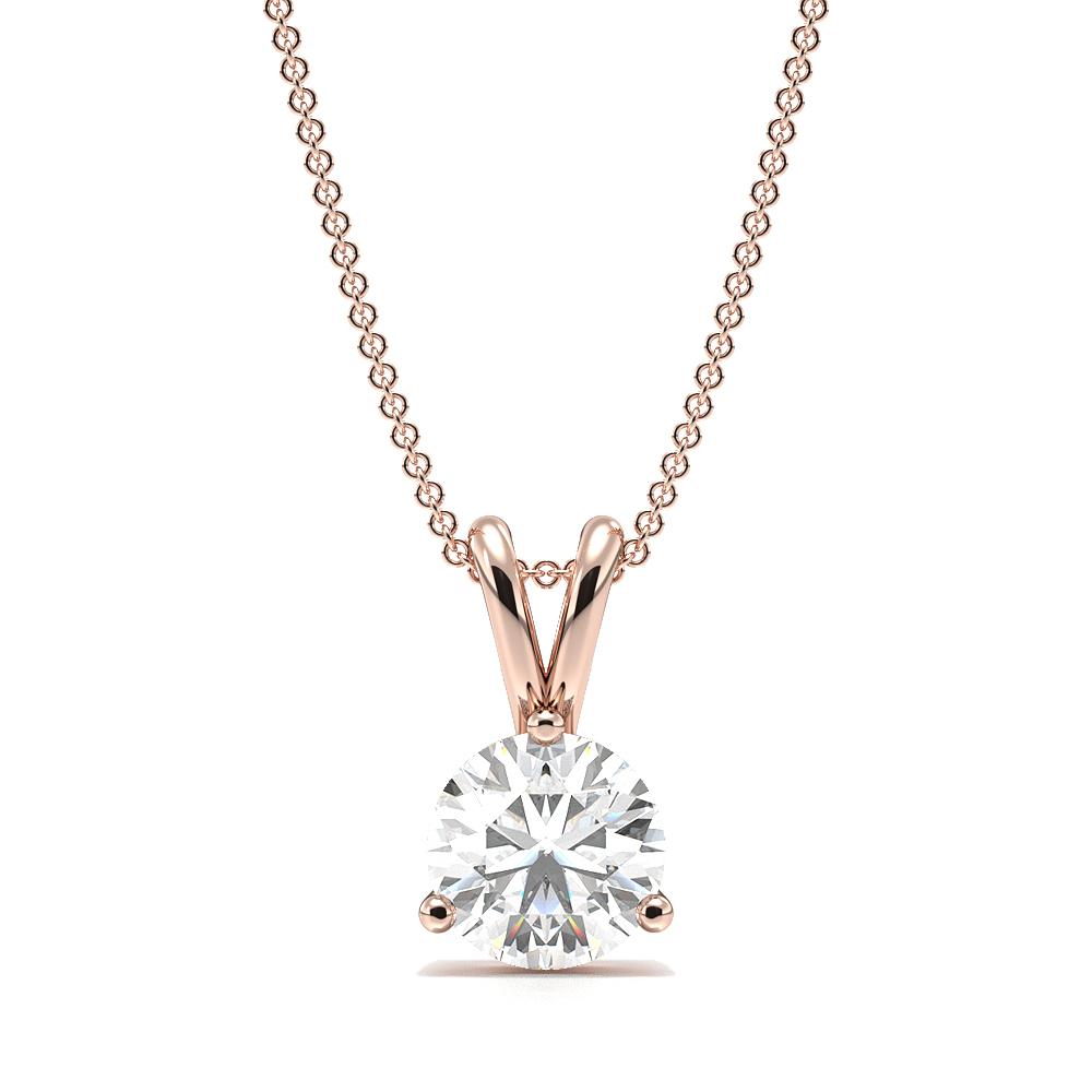 3 Prong Setting Round Solitaire Diamond Pendant
