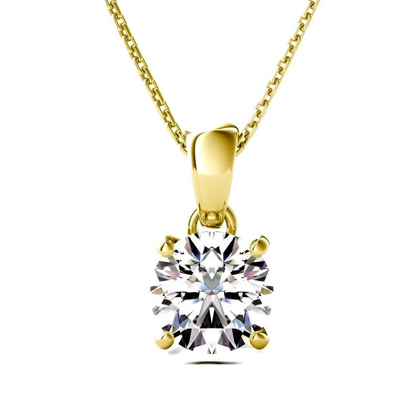 Gold Necklace for Women Round Solitaire Diamond Pendant