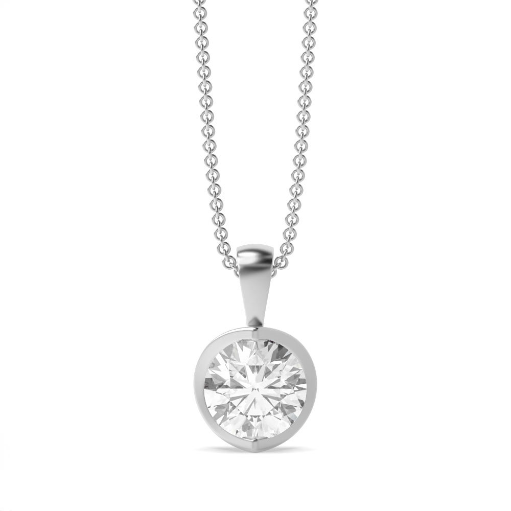 Gold Necklace Semi Bezel Set Round Solitaire Diamond Pendant