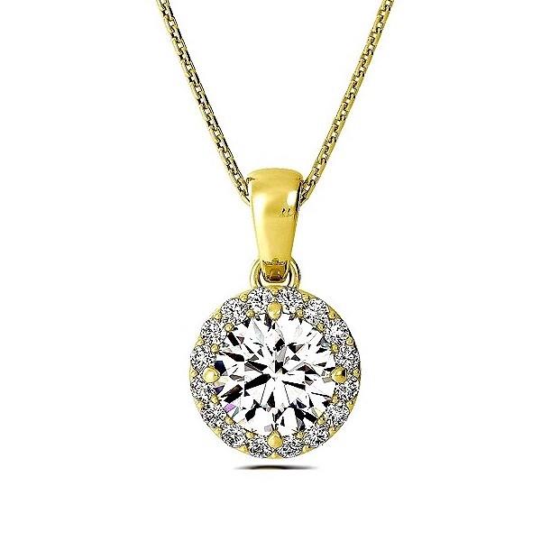 Gold Pendant Necklace Solitaire Halo Diamond Pendant Necklace