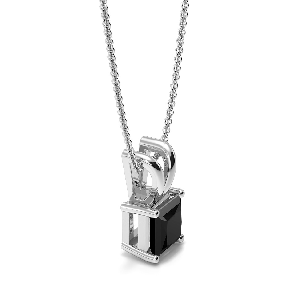 Claw Setting Rectangular Shape Black Diamond Necklace