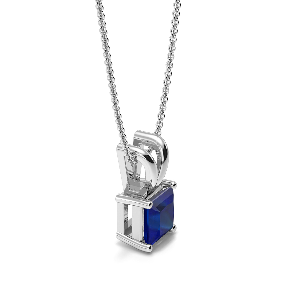 Claw Setting Rectangular Shape Blue Sapphire Gemstone Necklace