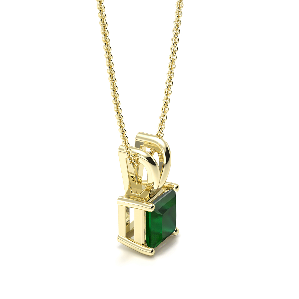 Claw Setting Rectangular Shape Emerald Gemstone Necklace