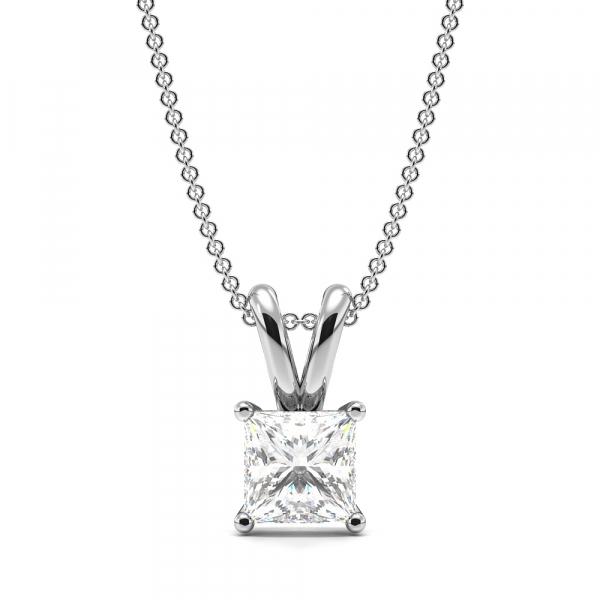 Claw Setting Princess Shape Lab Grown Diamond Necklace