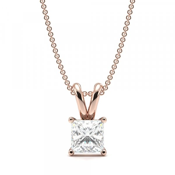 Claw Setting Princess Cut Moissanite Necklace