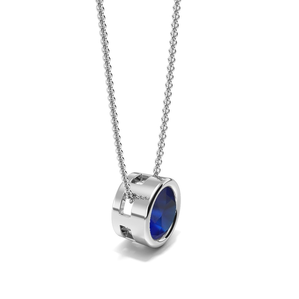Bezel Setting Sliding Blue Sapphire Gemstone Necklace