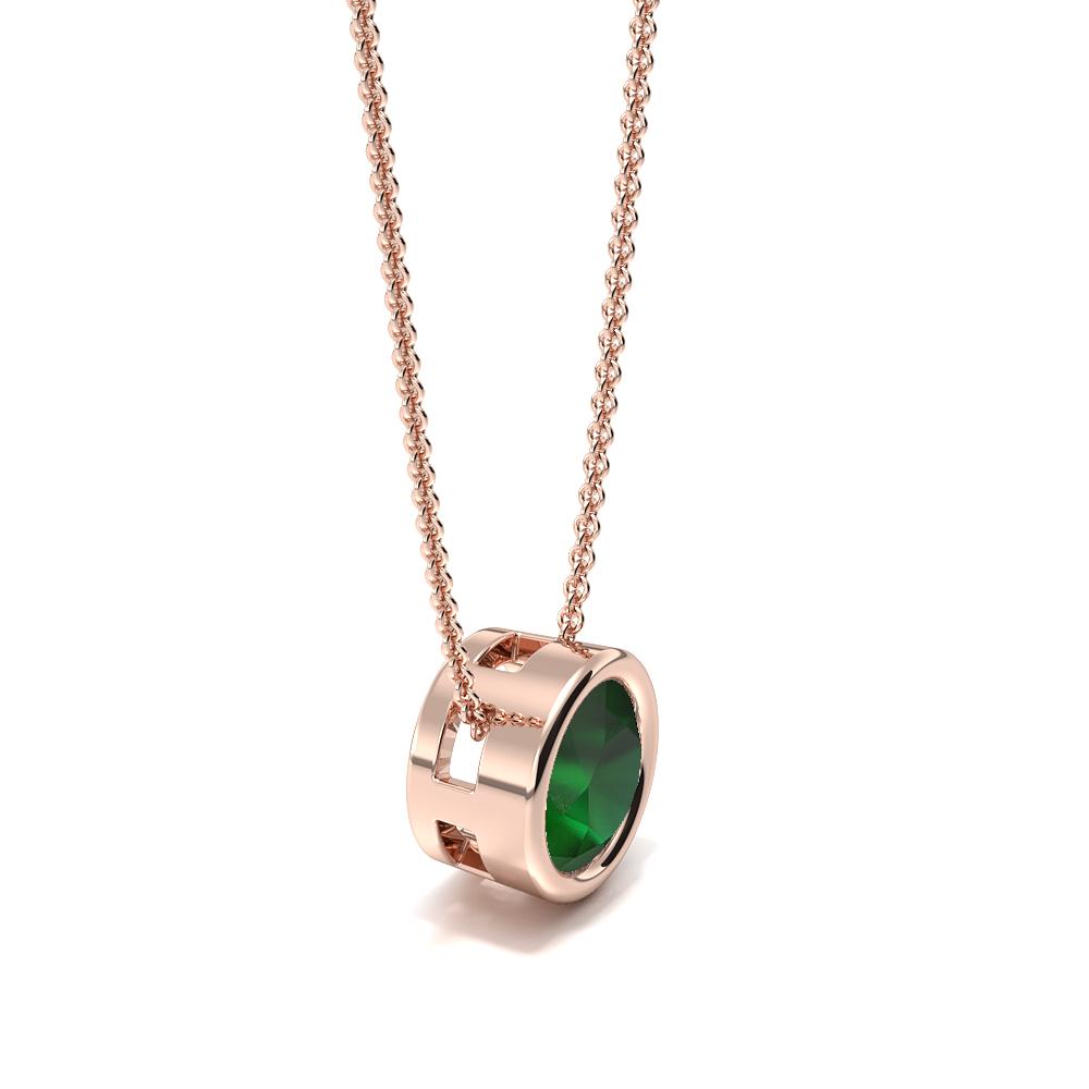 Bezel Setting Sliding Emerald Gemstone Necklace