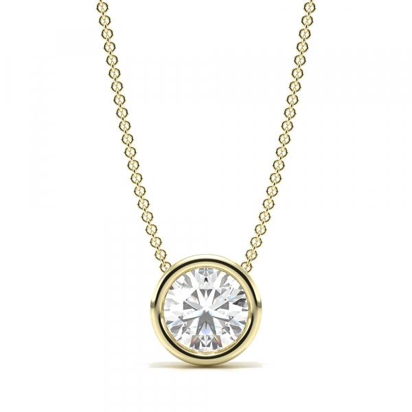Bezel Setting Sliding Lab Grown Diamond Necklace