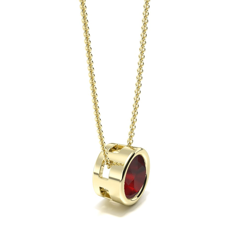 Bezel Setting Sliding Ruby Gemstone Necklace