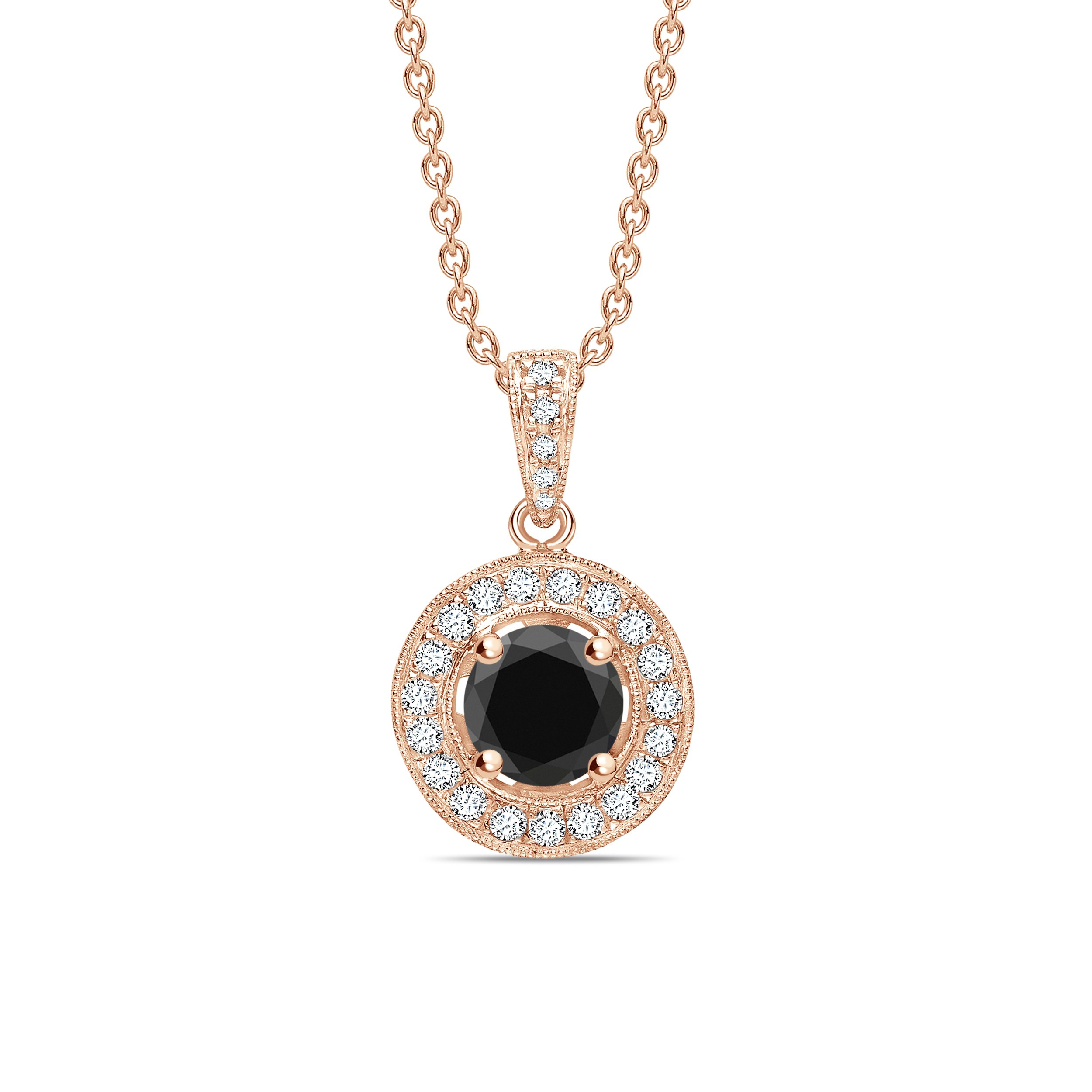 Round Shape Halo Style Black Diamond Solitaire Pendants Necklace