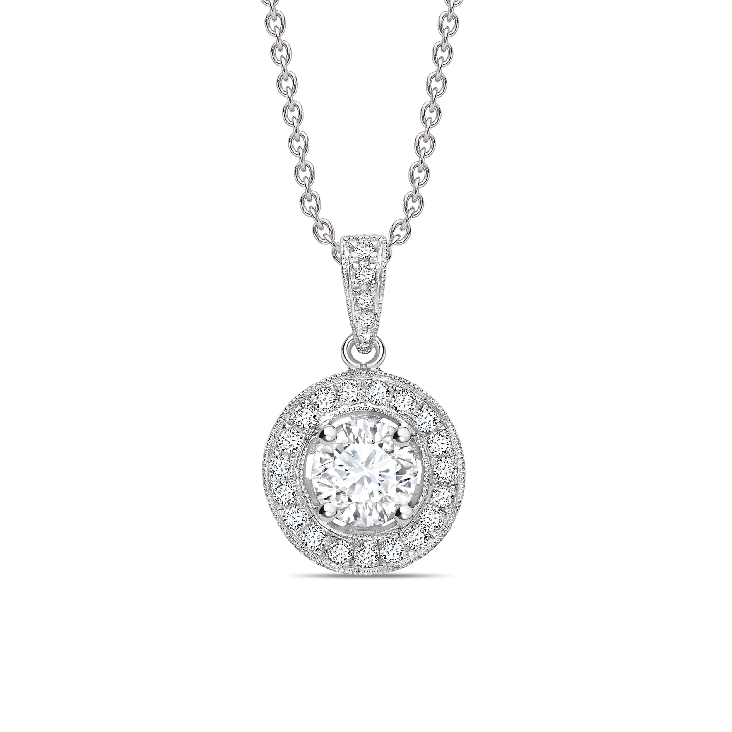 Vintage Style Dangling Round Shape Halo Diamond Necklace