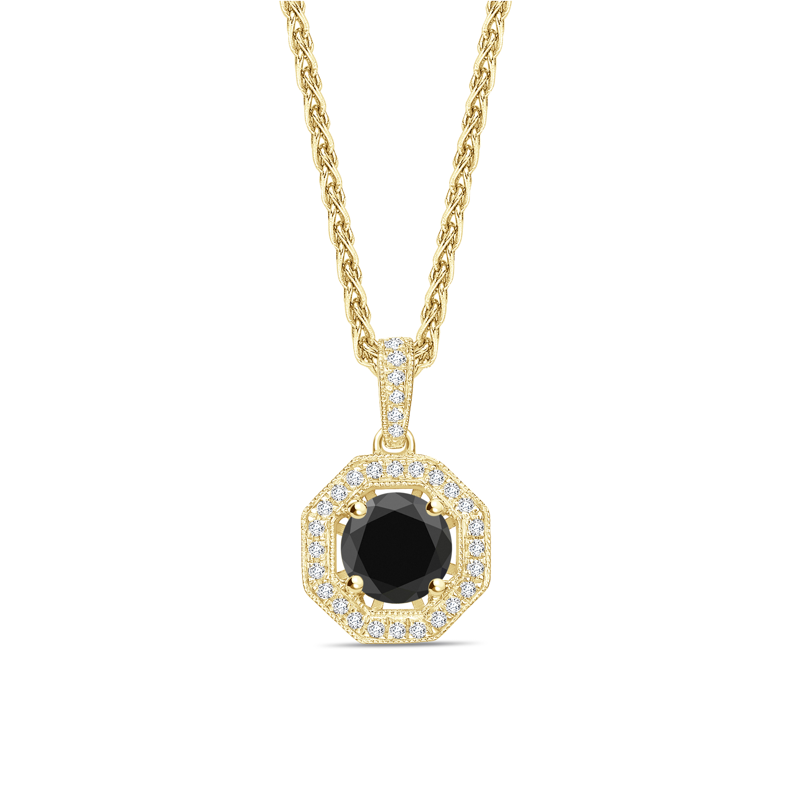 Halo Style Round Cut Black Diamond Solitaire Pendants Necklace