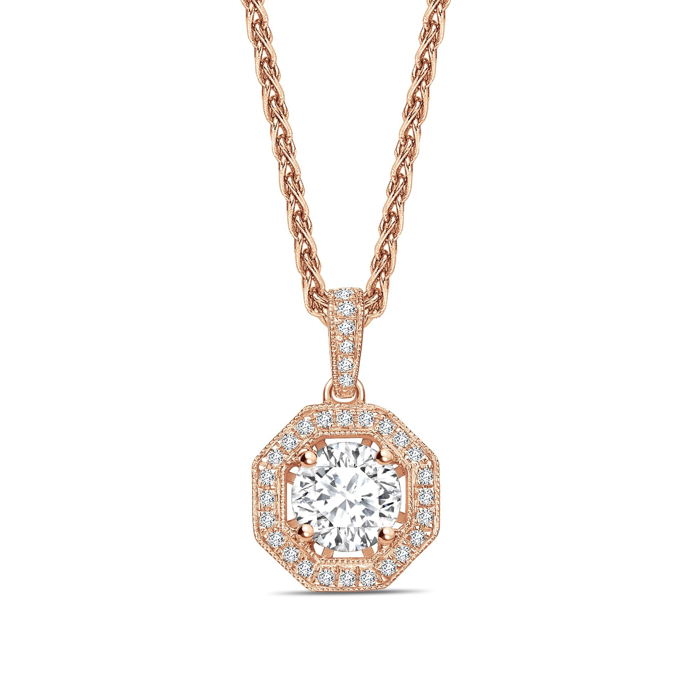 Octagon Shape Round Shape Halo Diamond Pendant Necklace