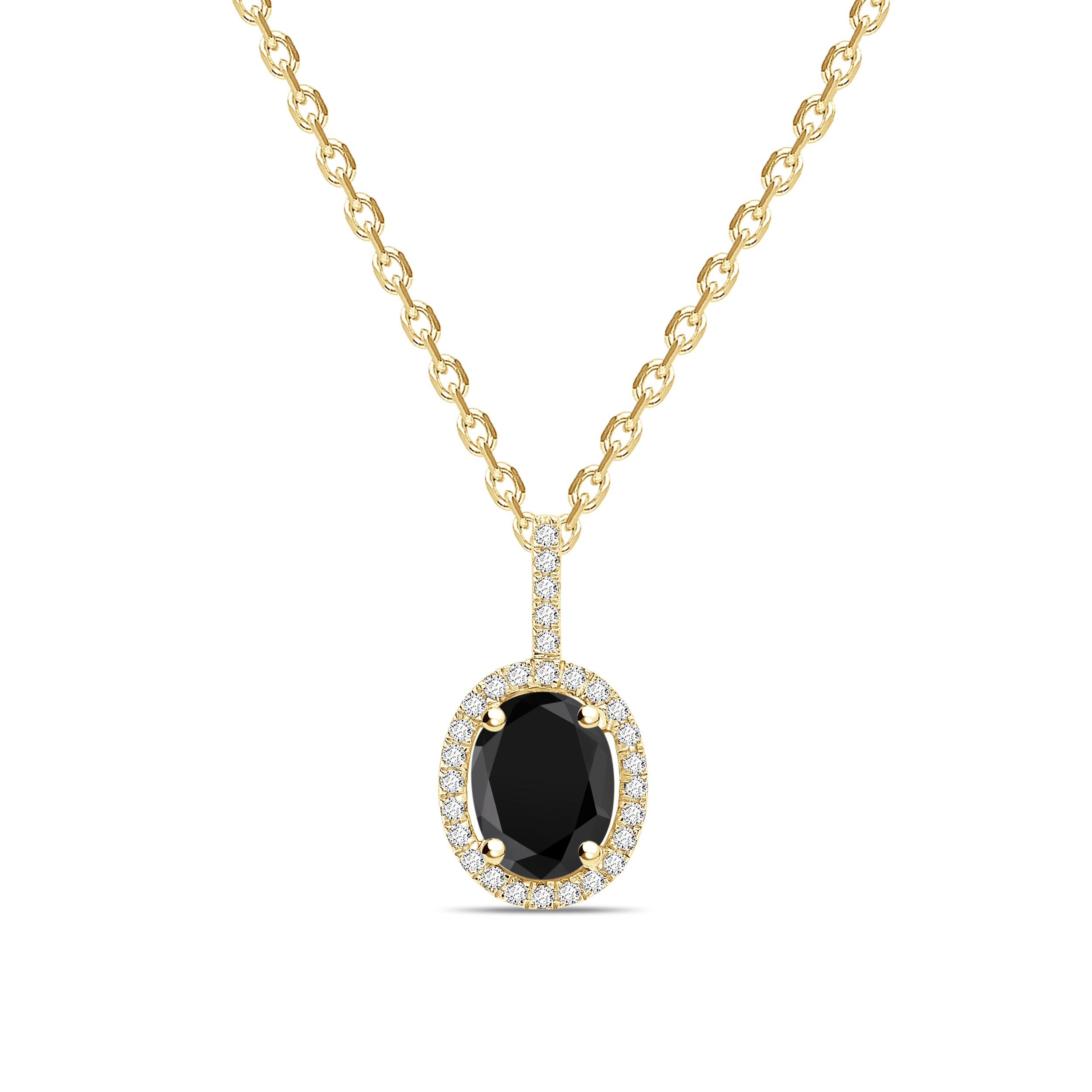Oval Shape Halo Style Black Diamond Solitaire Pendants Necklace