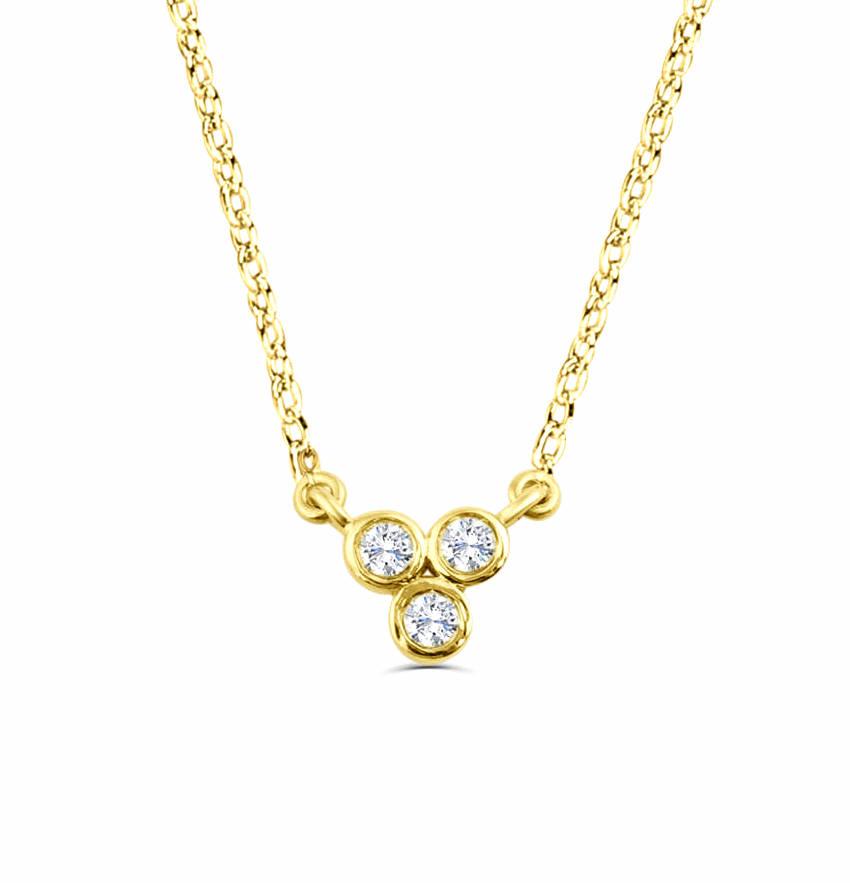 0.1Ct Trilogy Diamond Necklace Pendant for Women (6X6Mm)