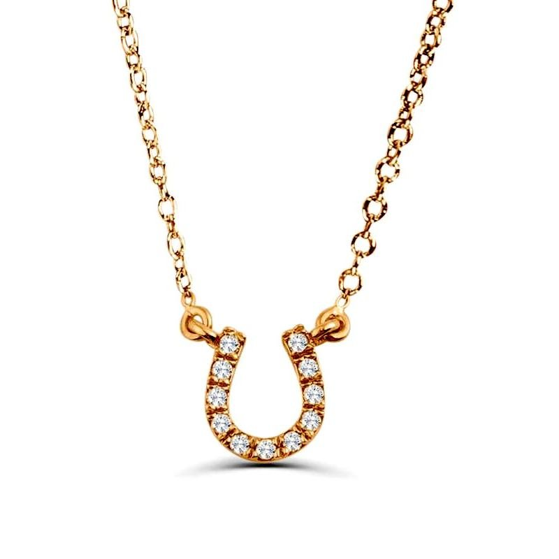 0.05Ct Horse Shoe Diamond Necklace Pendant for Women (7X7Mm)