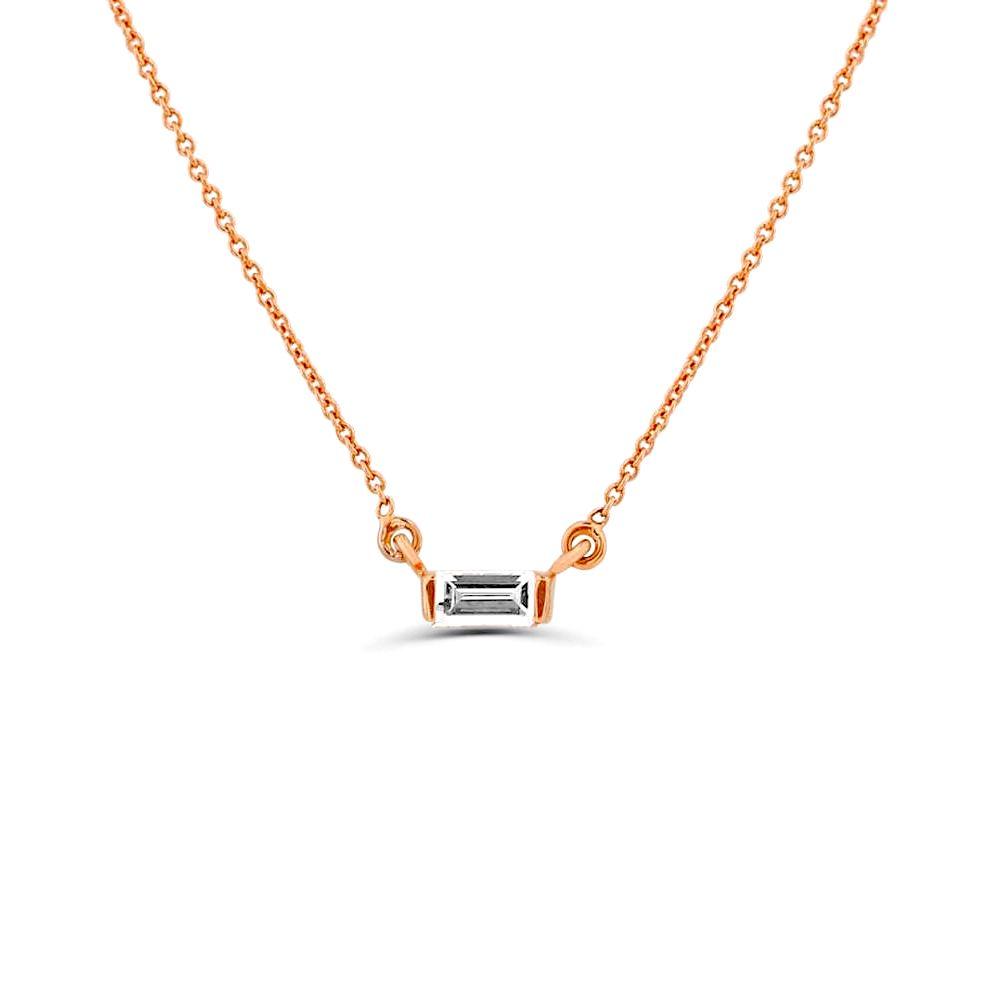 0.15Ct Baguette Diamond Solitaire Diamond Necklace Pendant (2.5X6Mm)