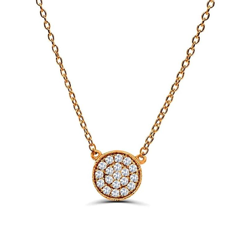 0.2Ct Circle Diamond Necklace Pendant for Women (7.5X7.5Mm)