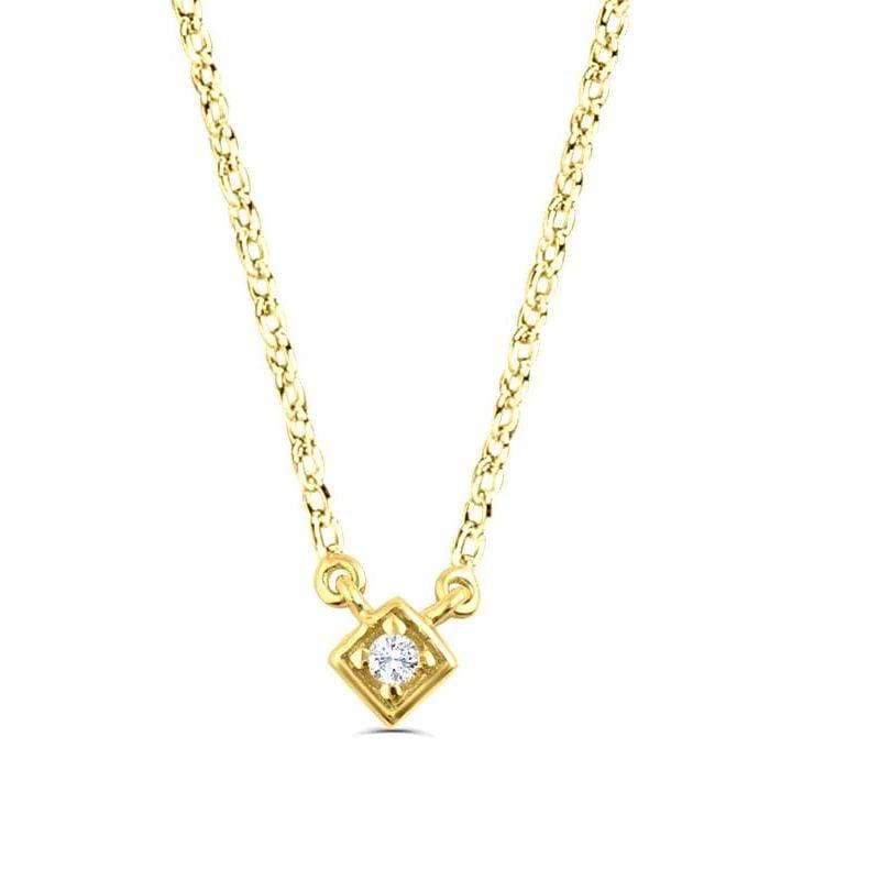 0.03Ct Diamond Solitaire Pendant Necklace for Women (5X5Mm)