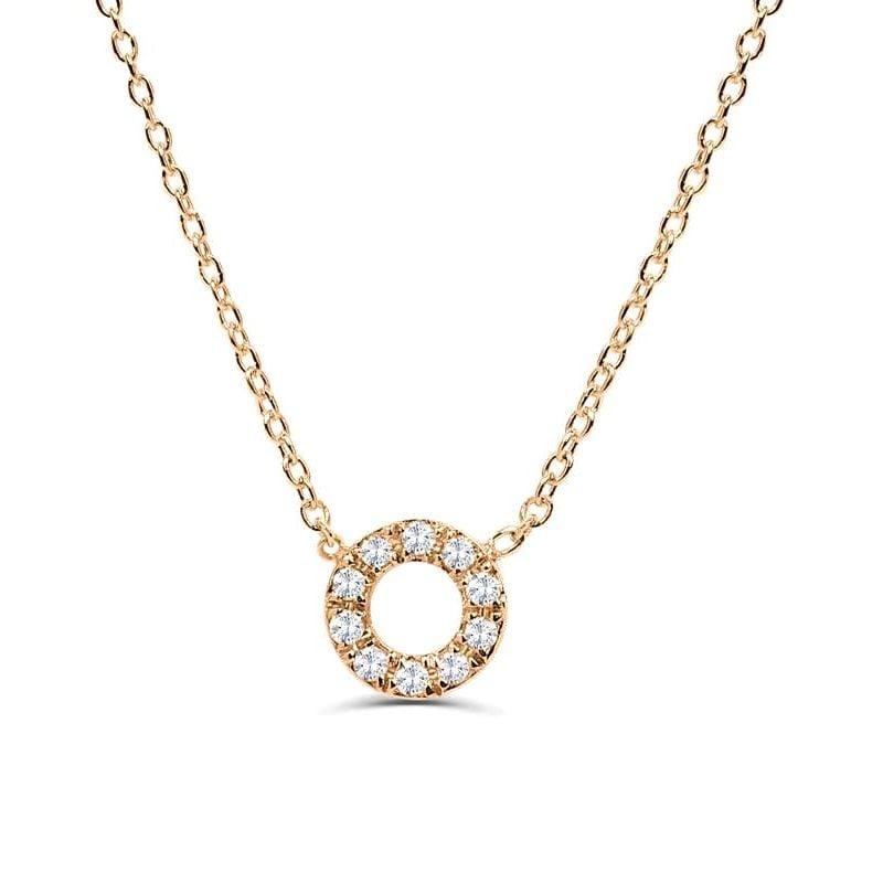 0.1Ct Circle Diamond Necklace Pendant for Women (7X7Mm)