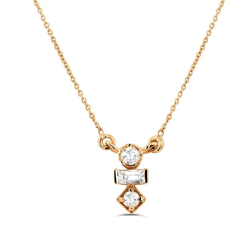 0.15Ct Stack Diamond Necklace Pendant for Women (6X2.75Mm)